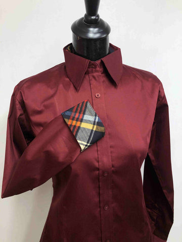 Burgundy Hidden Zipper Pattern Collar Shirt