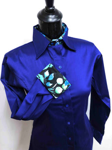 Royal Blue Hidden Zipper Pattern Collar Shirt