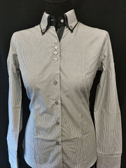 Ladies Charcoal/Black/White Pinstripe Button Up