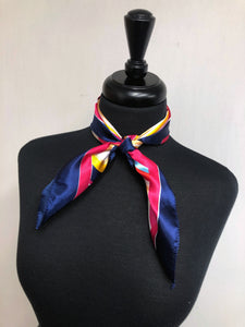 Navy & Fuchsia Multi Colored Stripe Scarf