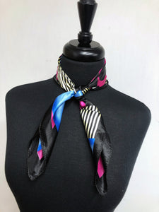 Black, Fuchsia, Blue & Cream Scarf
