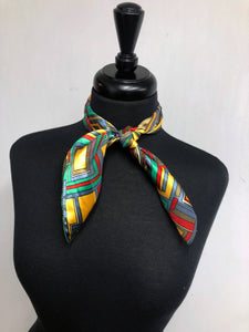 Green, Red, Yellow Square Stripe Sheer Scarf