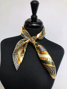 Green & Tan Chains Stripe Sheer Scarf
