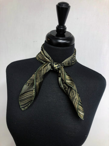 Black, Olive & Cream Stripe Sheer Scarf