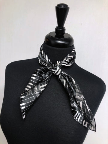 Black Piano Stripe Sheer Scarf