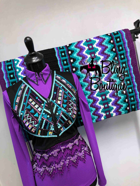 Grape, Aubergine, Teal & Mint Bolero Vest Set