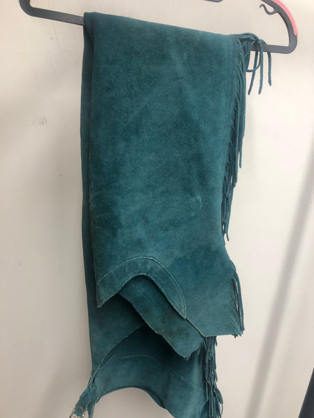 Teal Leather Chaps