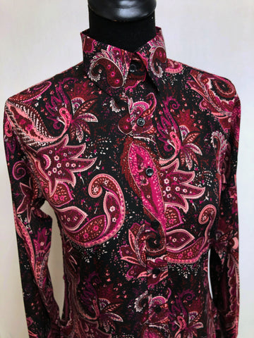 A Paisley Print Fitted Button Down - Black/Burgundy/Fuchsia