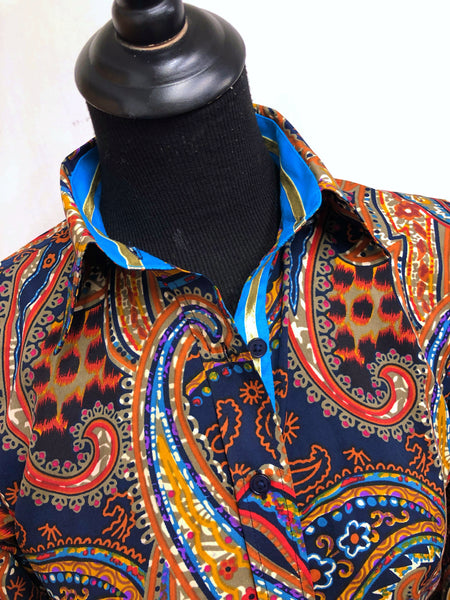 A Paisley Print Fitted Button Down - Navy Blue/Turquoise/Rust