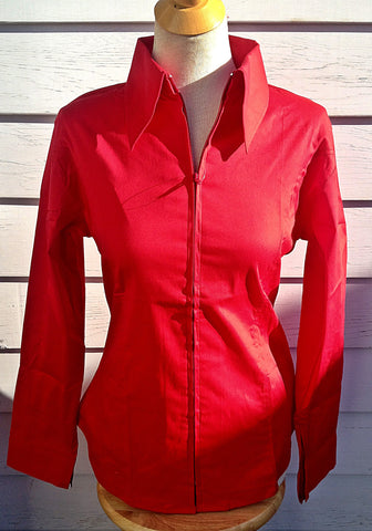 Ladies Zip Up Fitted Show Shirt - Red