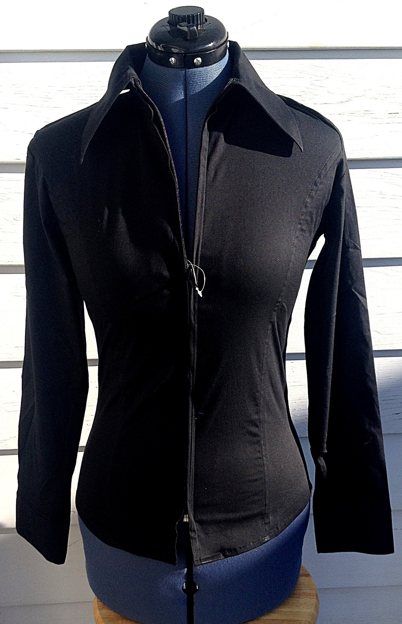 Ladies Zip Up Fitted Show Shirt - Black