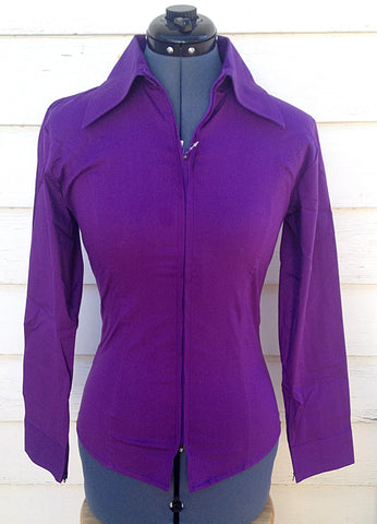 Ladies Zip Up Fitted Show Shirt - Purple