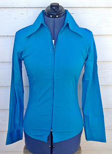 Ladies Zip Up Fitted Show Shirt - Dark Turquoise