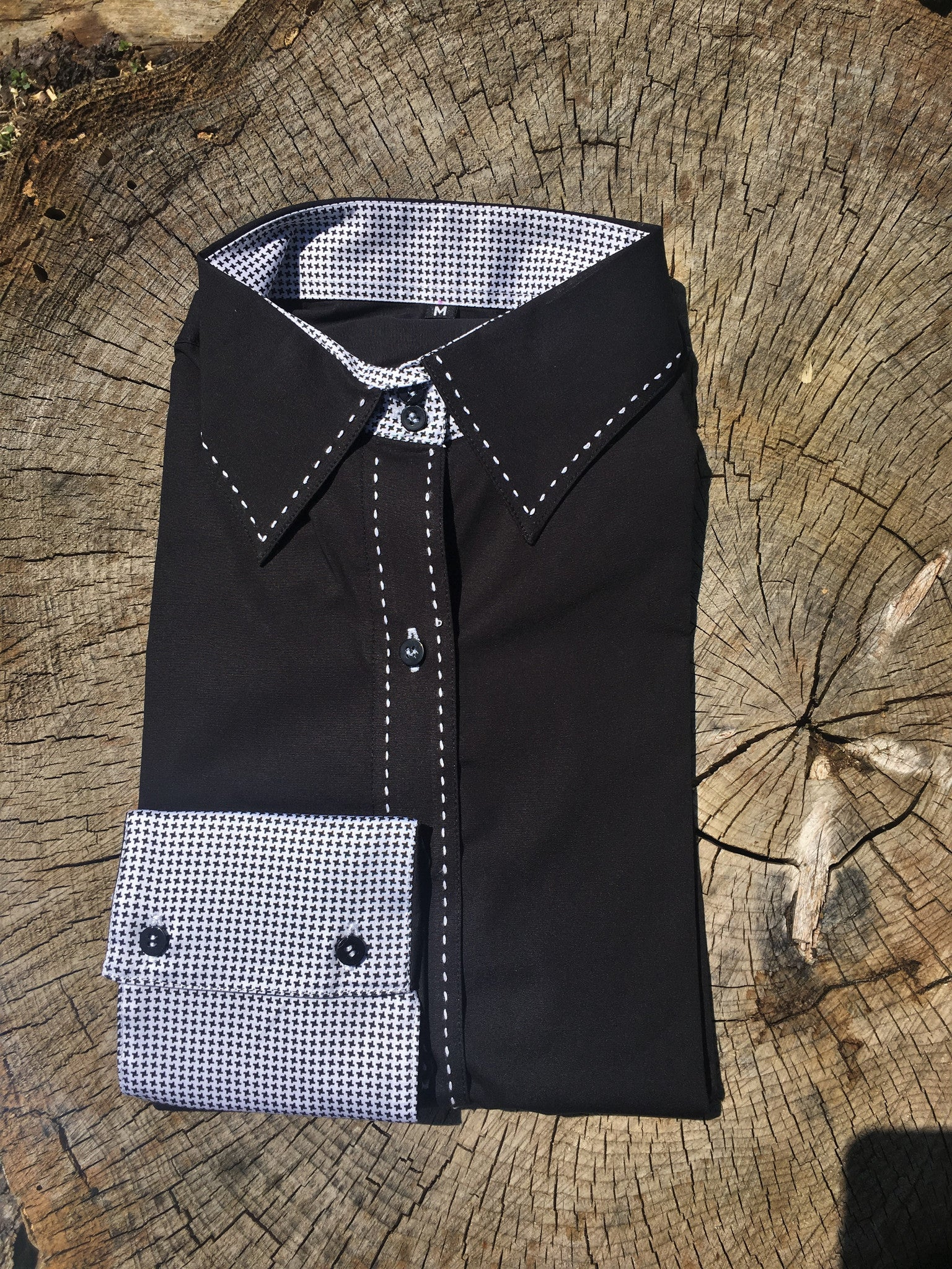 Buck-stitch Ladies Button Up Shirt - Black/White
