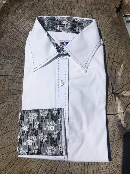 Buck-stitch Ladies Button Up Shirt - White/Black