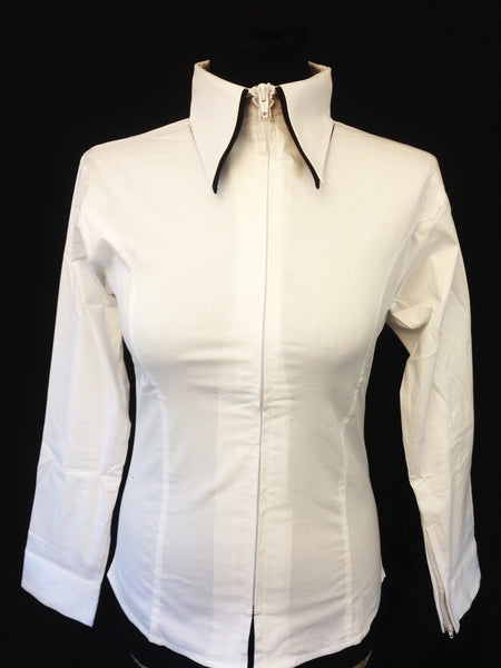 Ladies 2 Toned Zip Up Fitted Show Shirt - White/Black