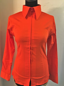 Ladies Zip Up Fitted Show Shirt - Orange