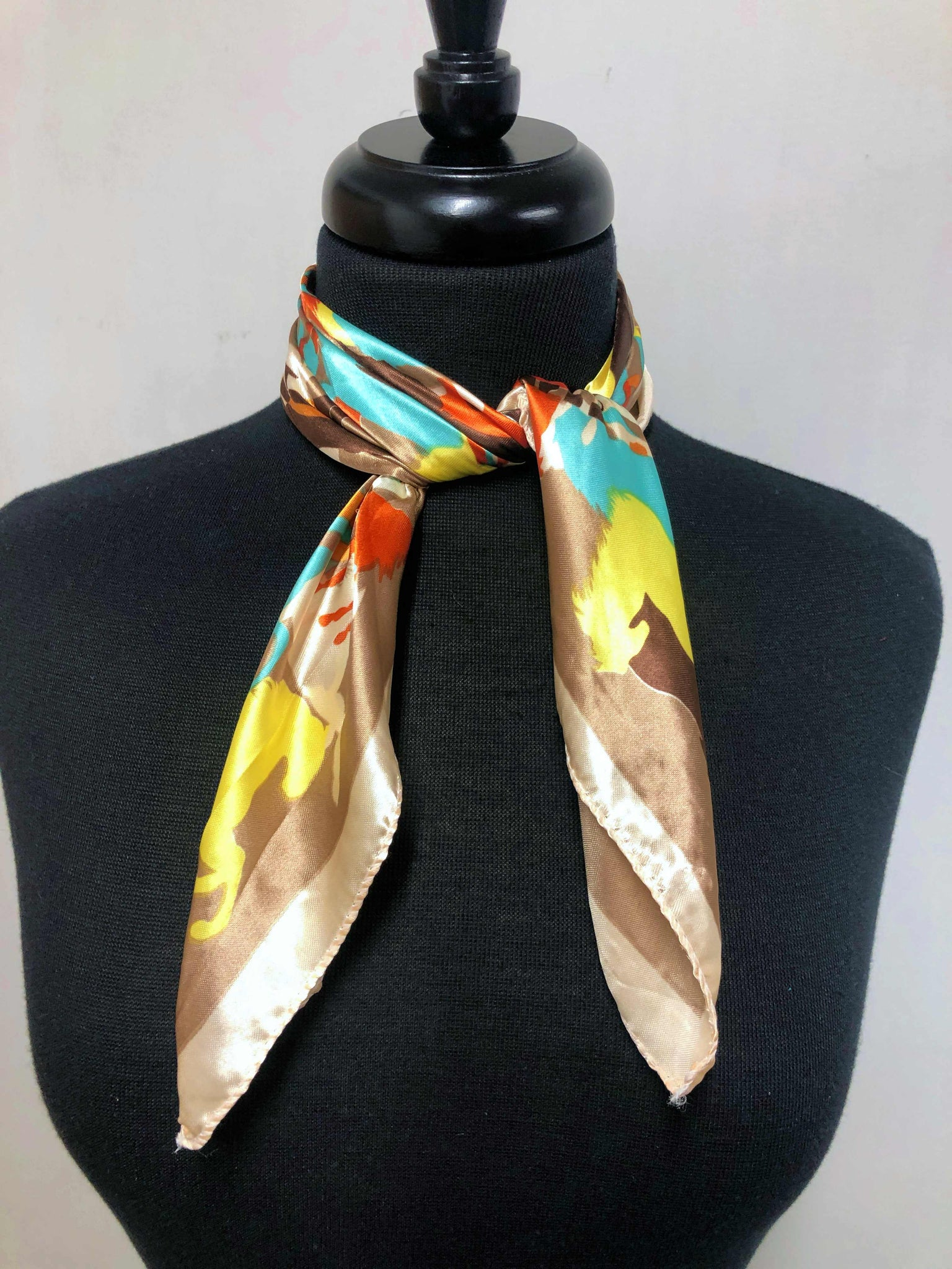 Tan, Teal, Orange & Yellow Horse Scarf