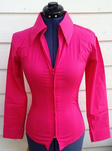 Ladies Zip Up Fitted Show Shirt - Hot Pink