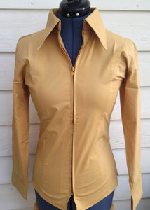 Ladies Zip Up Fitted Show Shirt - Caramel