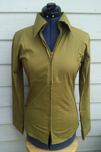 Ladies Zip Up Fitted Show Shirt - Olive Green