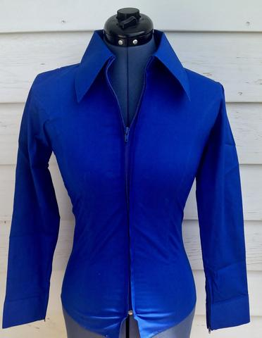 Ladies Zip Up Fitted Show Shirt - French Blue