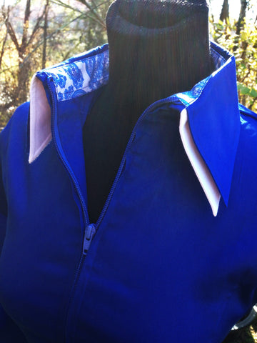 Ladies 2 Toned Zip Up Fitted Show Shirt - Royal Blue/White