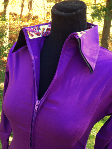 Ladies 2 Toned Zip Up Fitted Show Shirt - Purple/Black