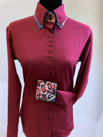 A Solid Microfiber Fitted Button Down - Burgundy