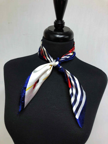 Red, White & Blue Stripe Floral Scarf