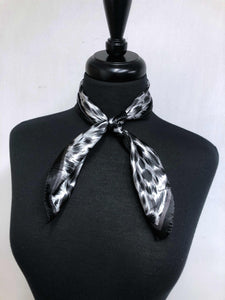 Black, Grey & White Leopard Print Scarf