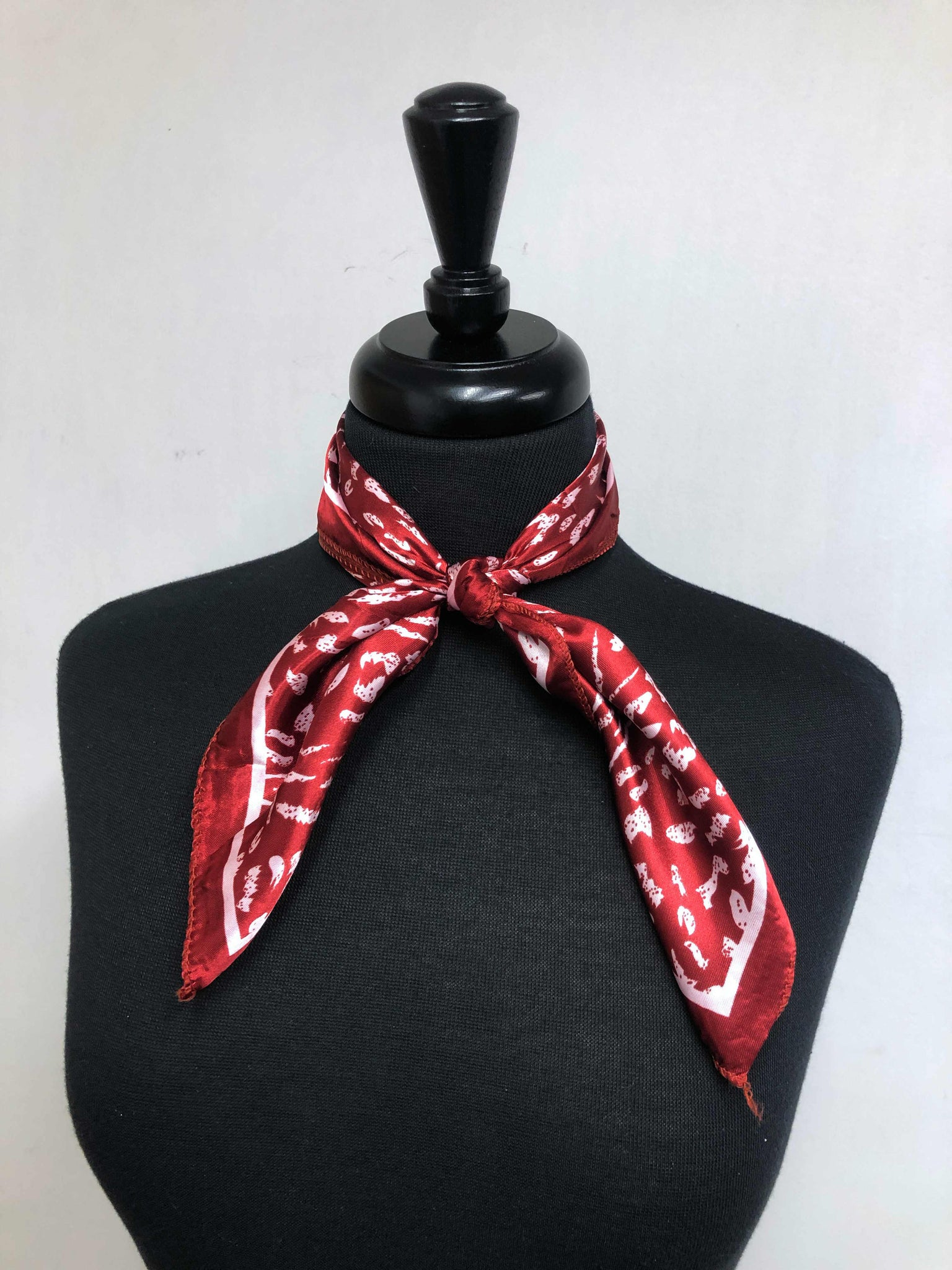 Dark Red & White Leopard Print Scarf