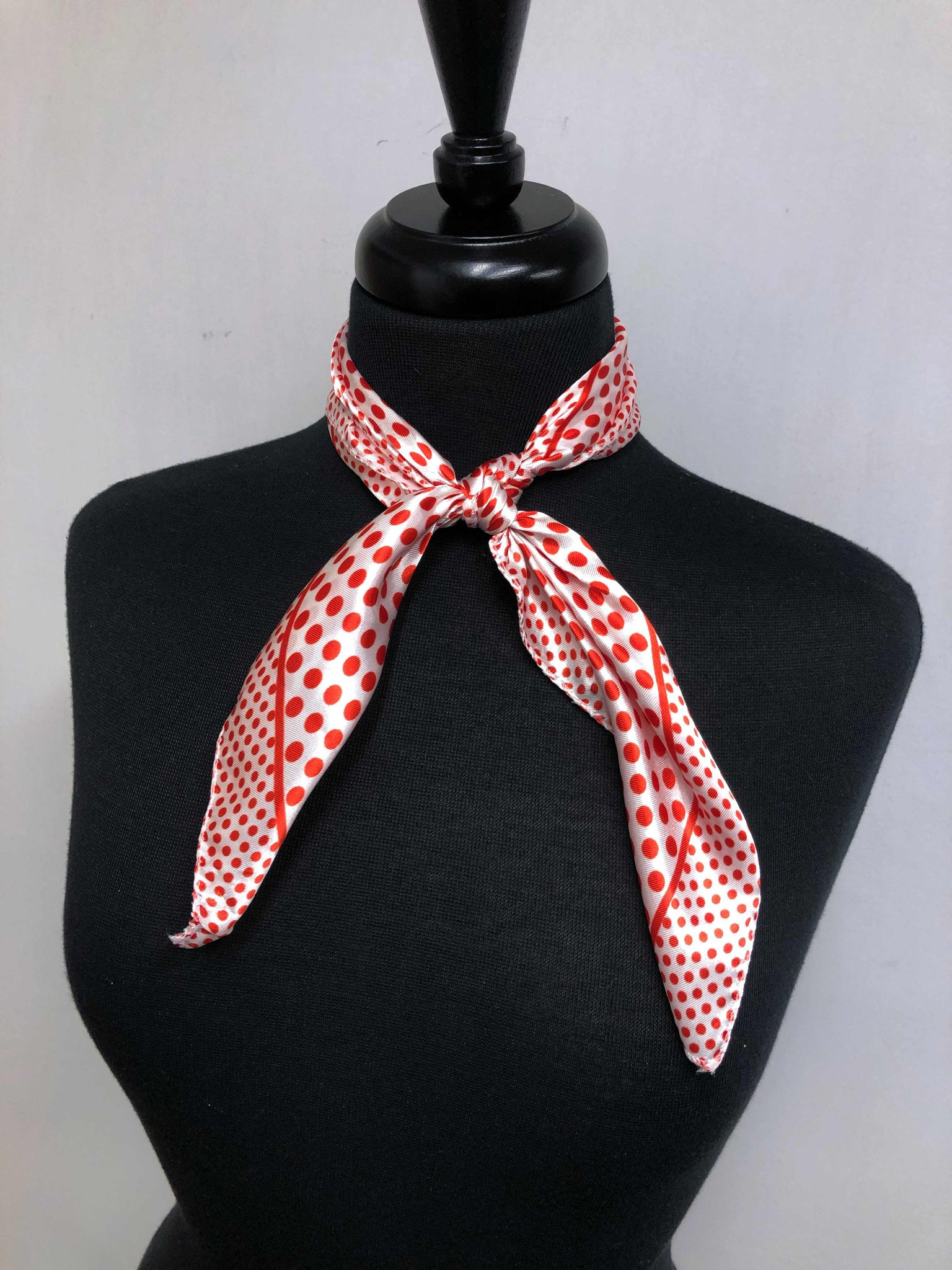 White & Red Dot Scarf