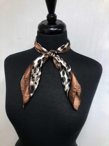 Brown, Black & White Leopard Print Scarf