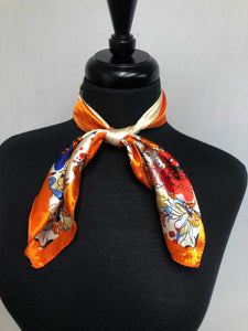 Orange Multi Colored Floral Scarf