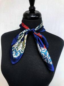 Navy Multi Colored Paisley Scarf