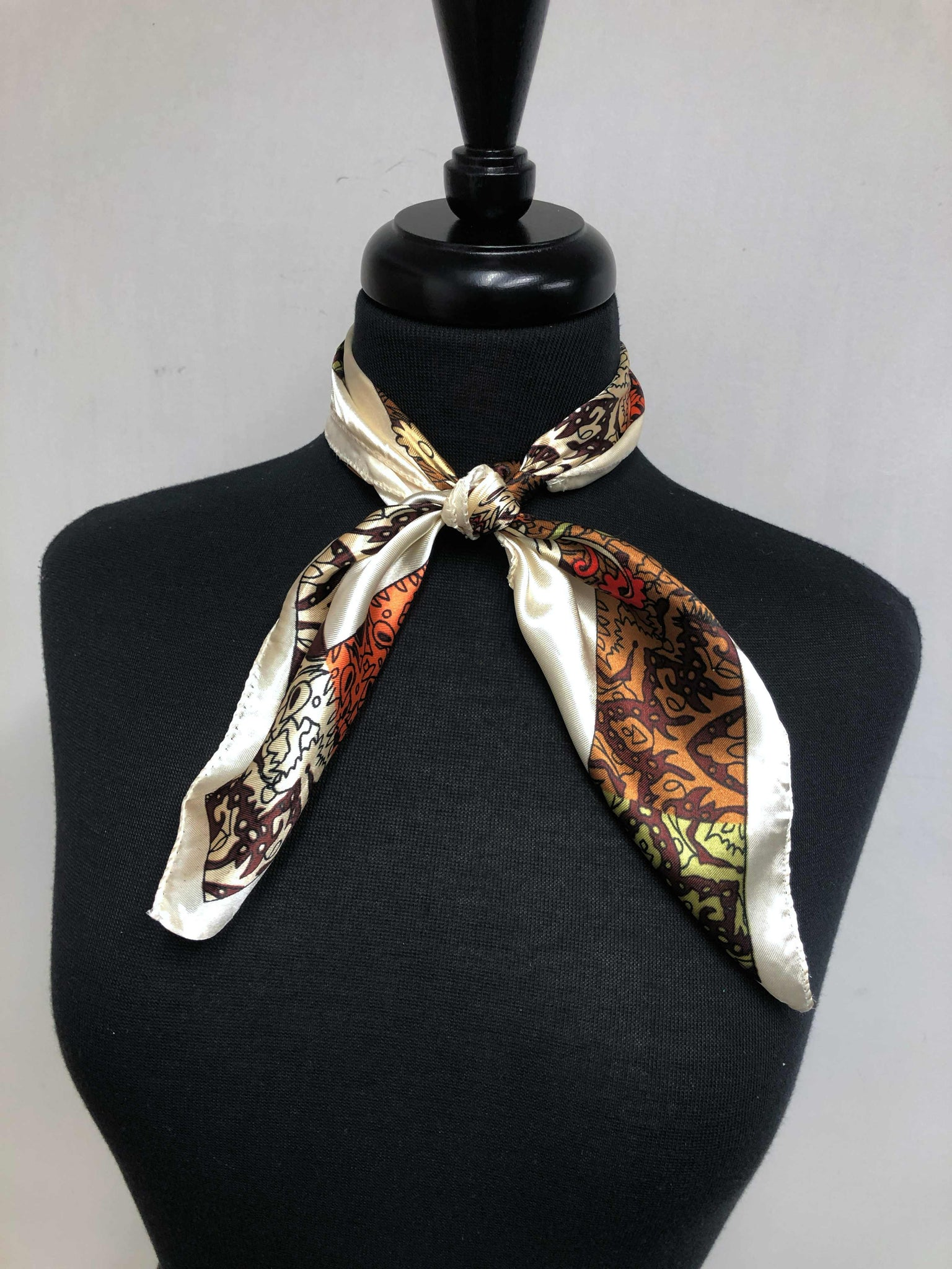 Cream, Brown & Olive Paisley Scarf