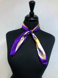 Purple & Tan Floral Scarf
