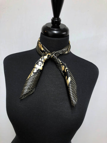 Black & Cream Damask Dot Scarf
