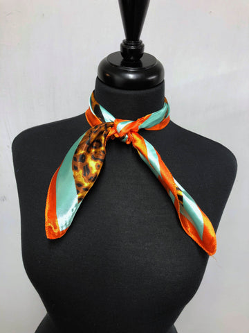 Mint & Orange Leopard Scarf