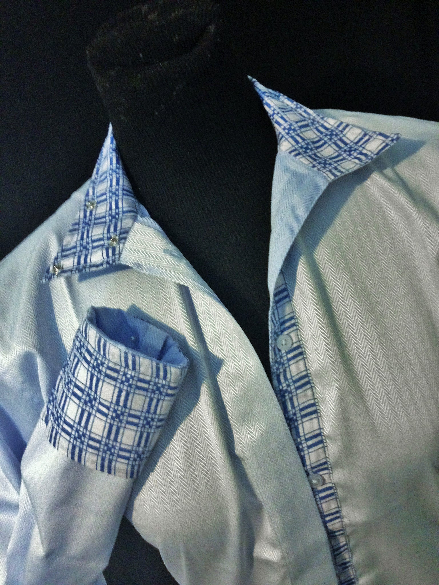 Herringbone Stripe Coolmax Hunt Shirt - Blue