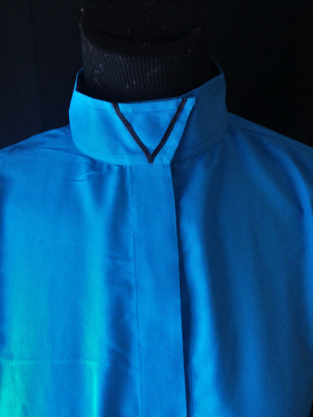 Ribbon V Wrap Collar Coolmax Hunt Shirt - Turquoise