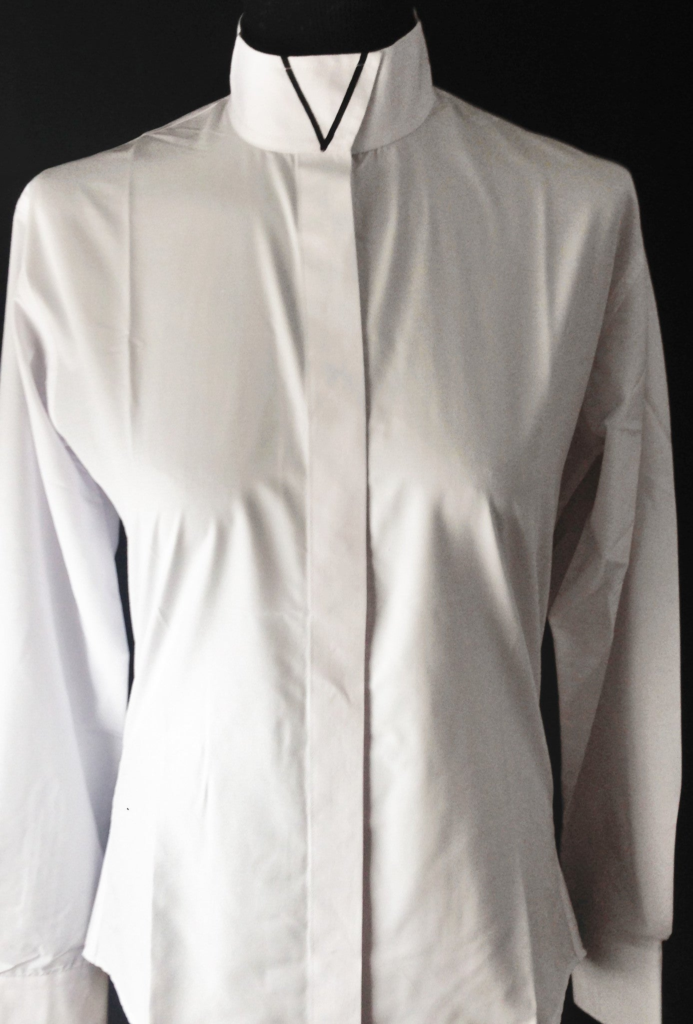 Ribbon V Wrap Collar Coolmax Hunt Shirt - White