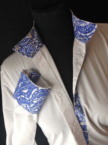 Coolmax Wrap Collar Hunt Shirt - White & Blue Paisley