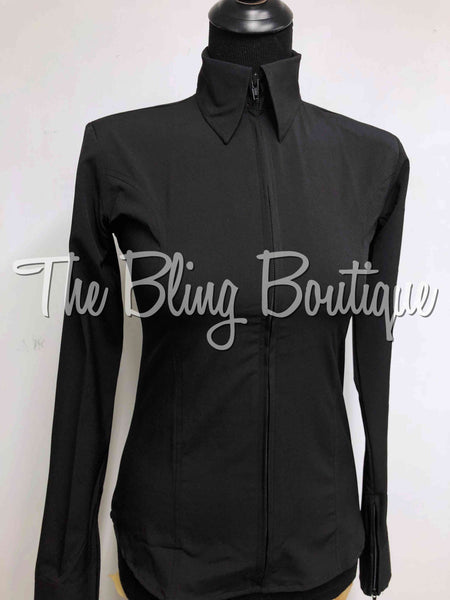 Microfiber Zip Up Shirt - Black