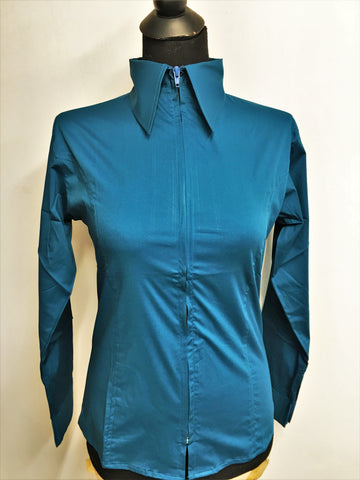 Ladies Zip Up Fitted Show Shirt - Lagoon Blue