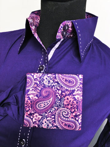 Buck-stitch Ladies Button Up Shirt - Violet