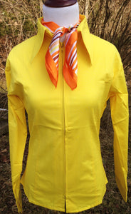 Ladies Zip Up Fitted Show Shirt - Yellow