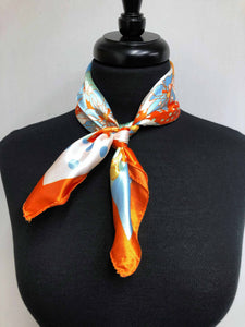 Aqua, Orange & White Scarf
