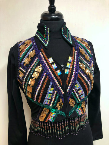 A Purple, Green, & Copper Bolero Vest Set